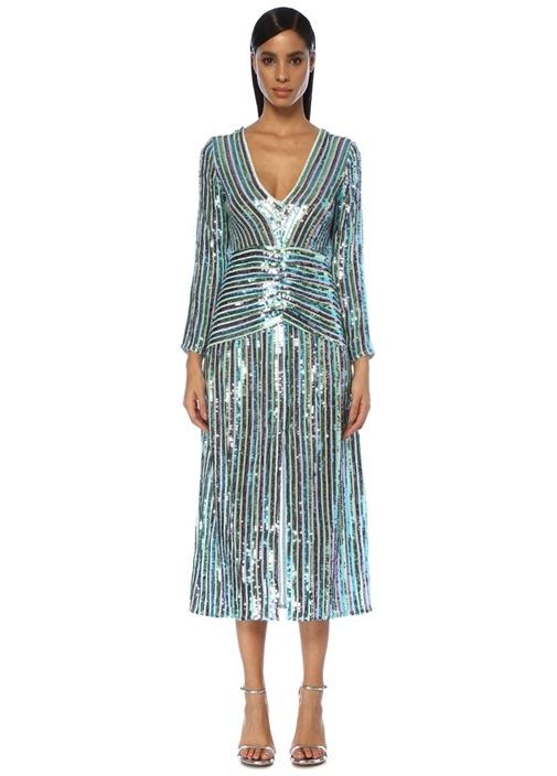 Emmy V Yaka Çizgili İşlemeli Midi Elbise
