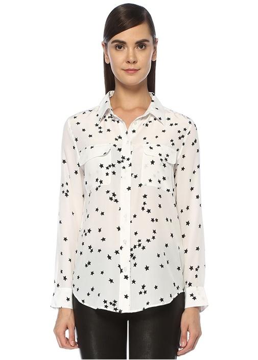 Slim Signature Beyaz Yıldız Desenli İpek Gömlek