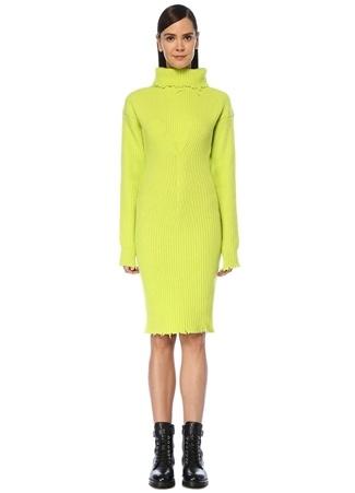 Unravel Kadın Yeşil Balıkçı Yaka Midi Yün Triko Elbise Sarı M EU