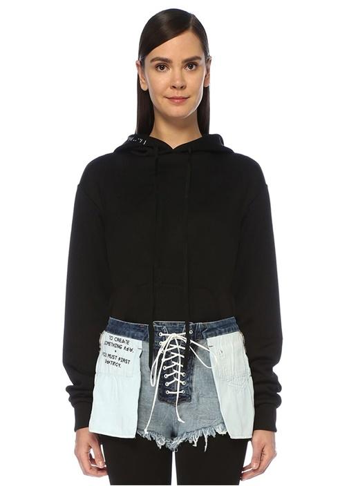 Siyah Kapüşonlu Sweatshirt Formlu Body