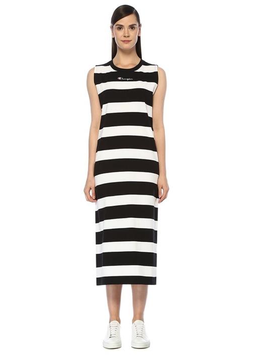 Siyah Beyaz Çizgili Midi Boy Elbise