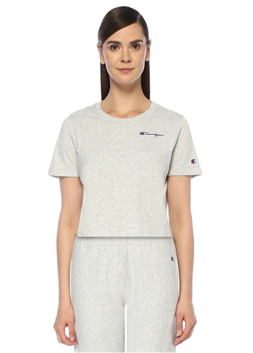 Gri Logo Nakışlı T-shirt
