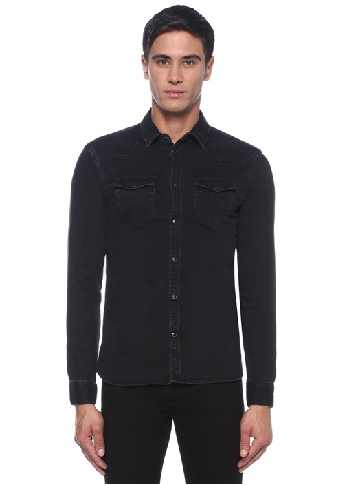 Based Siyah İngiliz Yaka Denim Gömlek