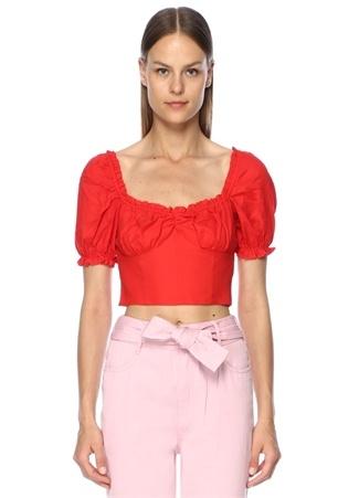 Finders Keepers Kadın Aranciata Kırmızı Kayık Yaka Fırfırlı Crop Bluz M EU