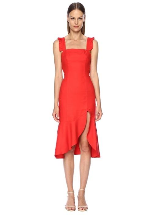 Aranciata Kırmızı Kare Yaka Fırfırlı Midi Elbise