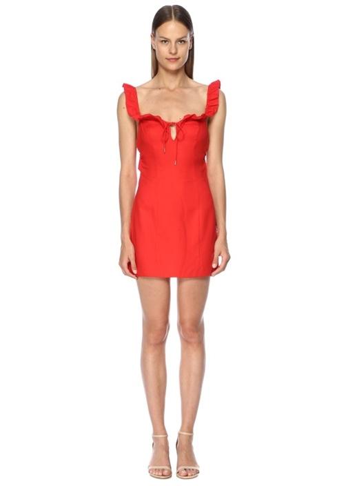 Aranciata Kırmızı Fırfırlı Bağcıklı Mini Elbise