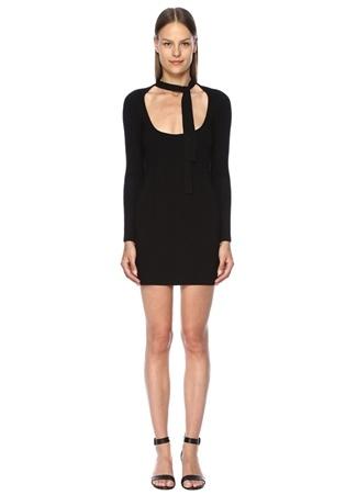 Finders Keepers Kadın Pomelo Siyah Yakası Bağcıklı Mini Triko Elbise M EU