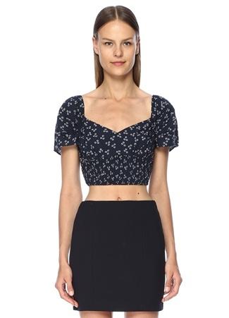 Finders Keepers Kadın Frida Lacivert Kayık Yaka Çiçekli Crop Bluz L EU