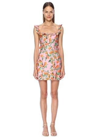 Finders Keepers Kadın Aranciata Pembe Fırfırlı Bağcıklı Mini Elbise L EU
