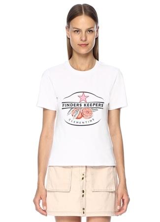 Finders Keepers Kadın Clementine Beyaz Logo Baskılı T-shirt L EU