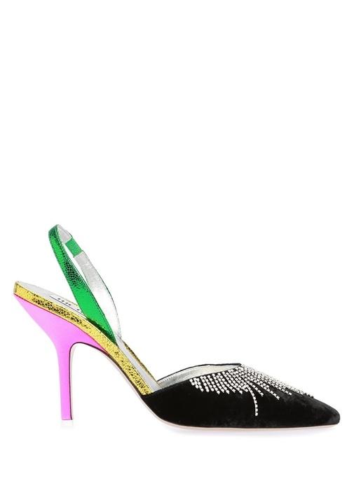 Siyah Taşlı Püsküllü Deri Topuklu Sandalet