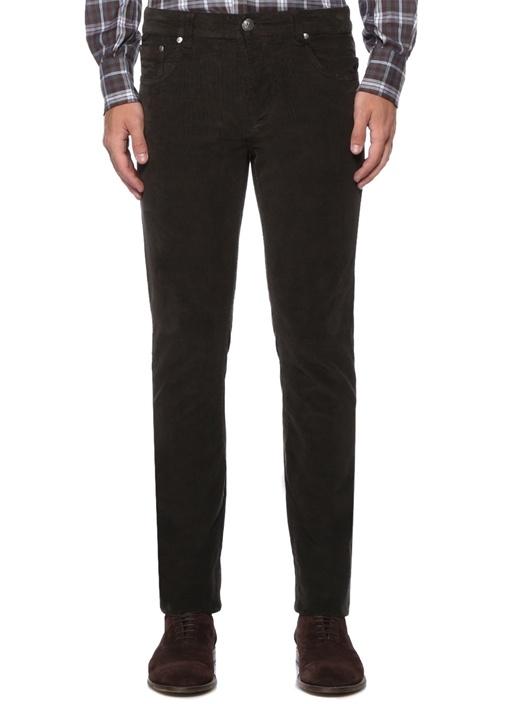 Kahverengi Normal Bel Çizgi Dokulu Pantolon