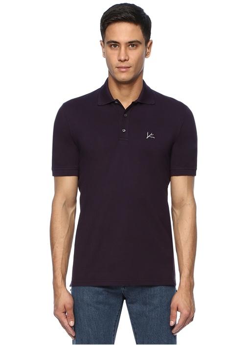 Mor Polo Yaka Logo Nakışlı T-shirt