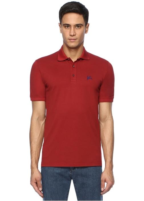 Kırmızı Polo Yaka Logo Nakışlı T-shirt