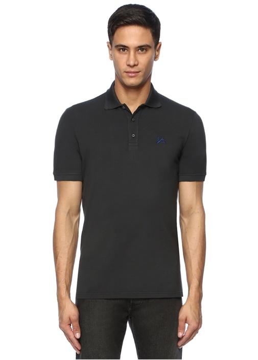 Antrasit Polo Yaka Logo Nakışlı T-shirt