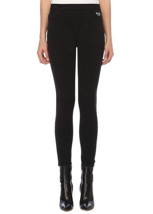 Slim Fit Siyah Beli Lastikli Jean Pantolon
