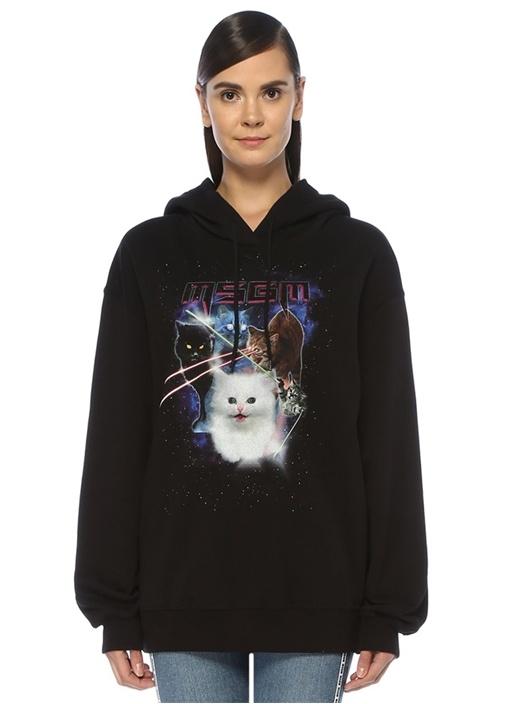 Oversize Siyah Kapüşonlu Kedi Baskılı Sweatshirt