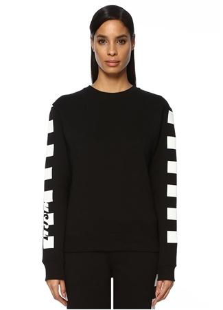 Msgm Kadın Siyah Beyaz Kolu Logo Baskılı Sweatshirt EU female