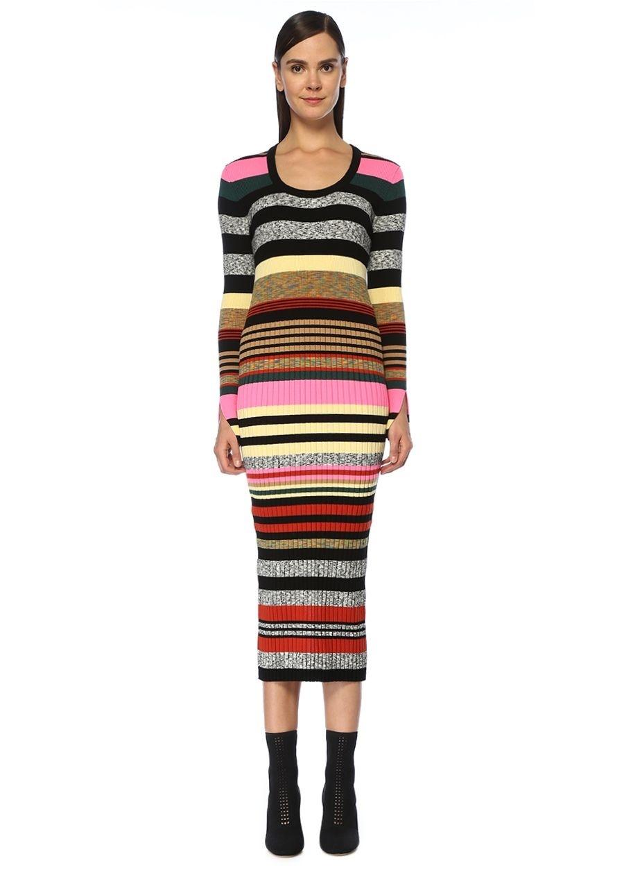 Kenzo U Yaka Çizgili Uzun Kol Midi Triko Elbise