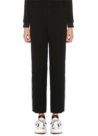 Siyah Bordo Şeritli Boru Paça Pantolon