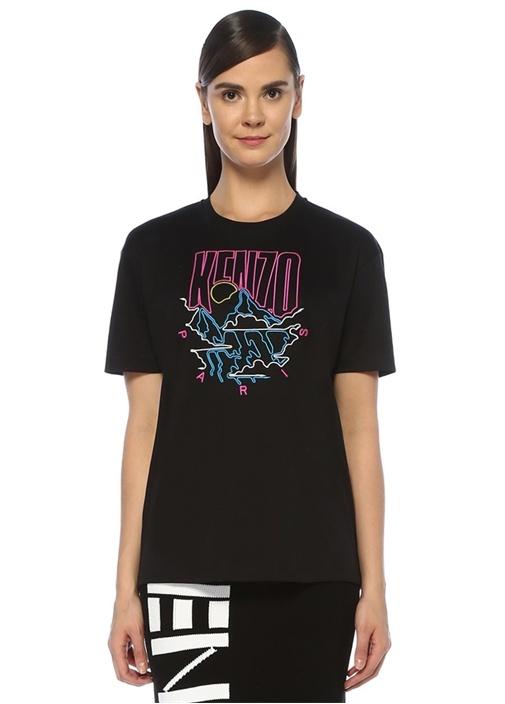 Kenzo Mountain Oversize Siyah Nakışlı T-shirt