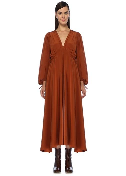 Sante Kiremit V Yaka Büzgülü Maksi İpek Elbise