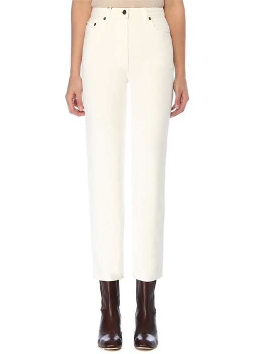 Charlee Beyaz Crop Straight Jean Pantolon