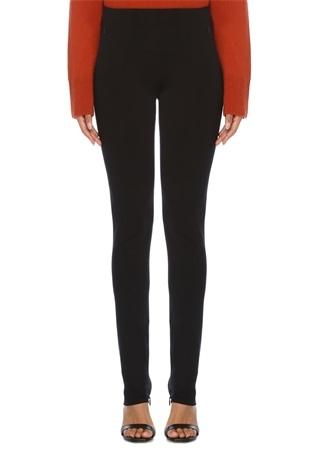 Siyah Paçaları Fermuar Detaylı Streç Pantolon