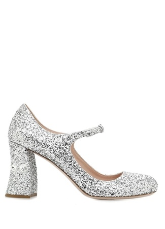 Miu Kadın Silver Pulpayet İşlemeli Topuklu Ayakkabı Gri 36.5 EU