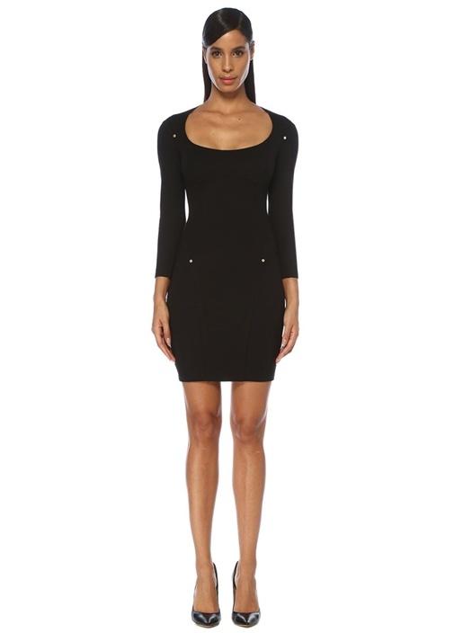 Siyah Gold Düğmeli Uzun Kol Mini Elbise