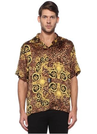Kahverengi Kamp Yaka Barok Desenli Gömlek