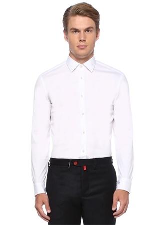 Slim Fit Beyaz İngiliz Yaka Stretch Gömlek