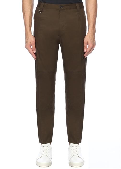 Yeşil Normal Bel Cep Detaylı Kanvas Pantolon