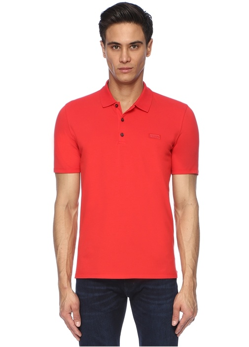 Kırmızı Polo Yaka Logolu T-shirt