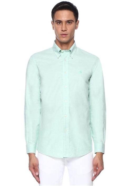 Non Iron Yeşil Düğmeli Yaka Gömlek