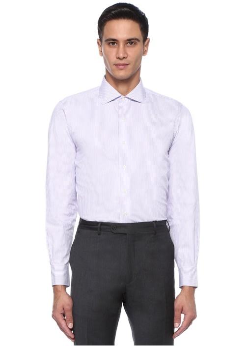 Lila Beyaz İtalyan Yaka Çizgili Gömlek