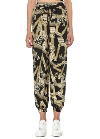 Siyah Gold Yüksek Bel Desenli Pantolon