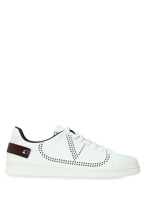 Backnet Beyaz Bordo Erkek Deri Sneaker