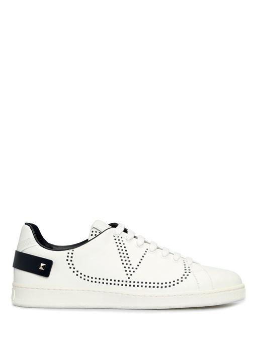 Backnet Beyaz Siyah Logolu Erkek Deri Sneaker