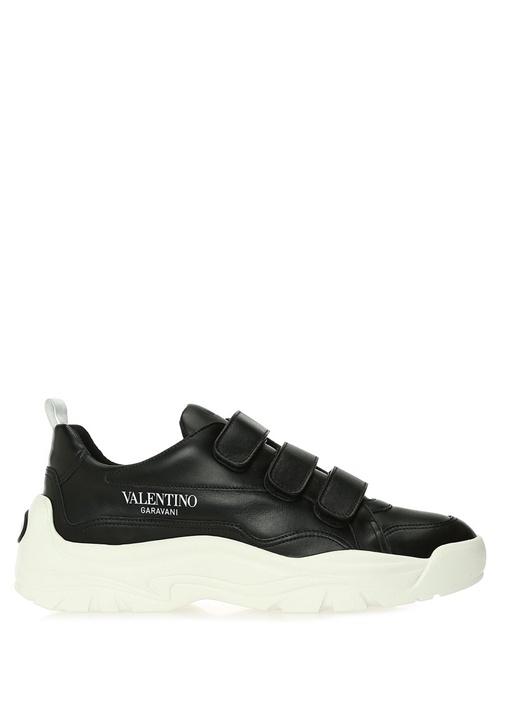 Siyah Bantlı Erkek Deri Sneaker