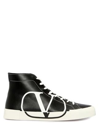 Valentino Garavani Erkek Vring Siyah Beyaz Logolu Deri Sneaker 4.5 EU male 41.5