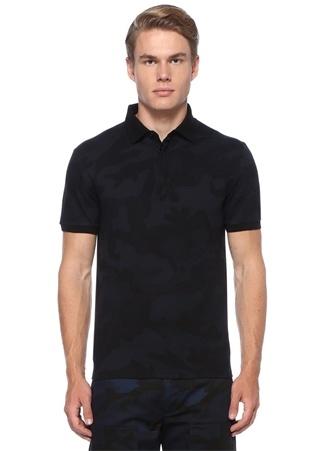 Valentino Erkek Siyah Polo Yaka Kamuflaj Desenli T-shirt XL EU male