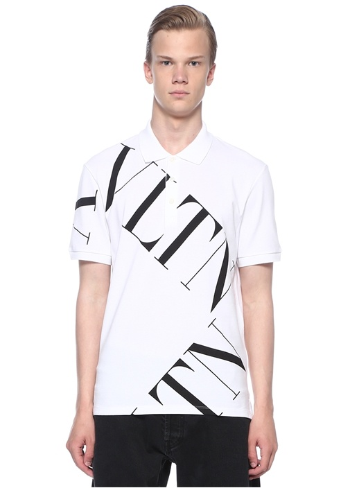 VLTN Beyaz Polo Yaka Dokulu T-shirt