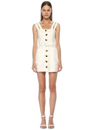 88c1ee6af60d8 Beyaz Çift Askılı Beli Kemerli Mini Keten Elbise