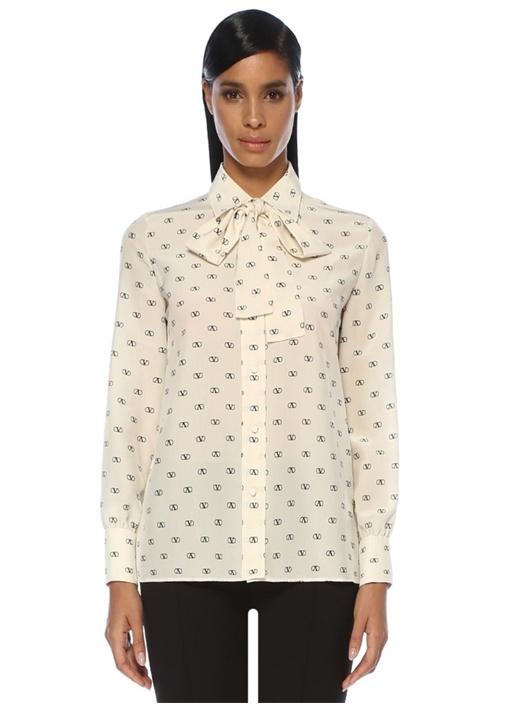 VLogo Ekru Siyah Yakası Bağcıklı İpek Gömlek