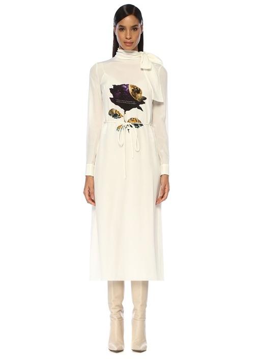 Undercover Cosmos Beyaz Kuşaklı Midi İpek Elbise