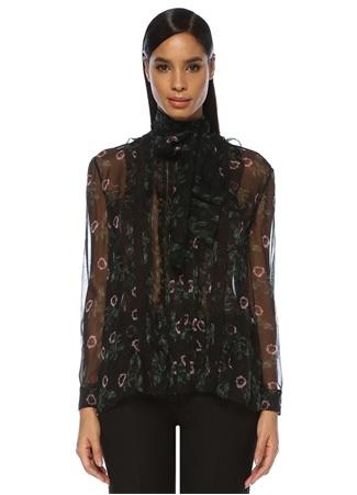 Undercover Rose And Lips Siyah İpek Şifon Gömlek