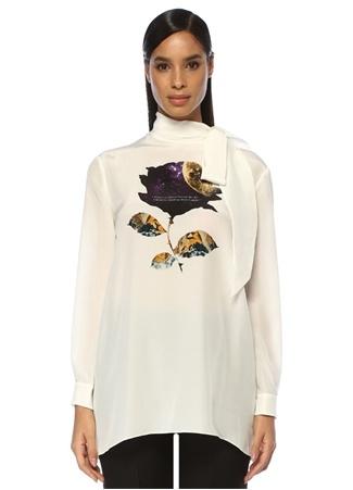 Valentino Kadın Undercover Cosmos Beyaz Yakası Bağlı İpek Gömlek Bej 42 IT