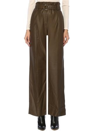 Yves Salomon Kadın Haki Yüksek Bel Kemerli Bol Paça Deri Pantolon 36 FR