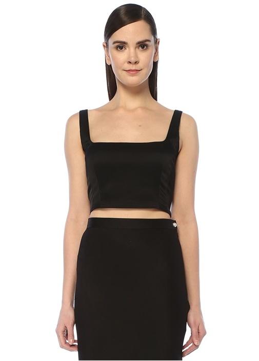 Marnie Siyah Crop Bluz